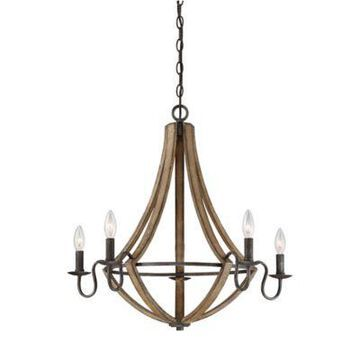 Quoizel Shire 5-Light Chandelier in Rustic Black