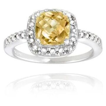 Glitzy Rocks Sterling Silver Square Cushion-cut Gemstone and Diamond Accent Ring (November - Yellow - Yellow - 9.5 - Citrine)