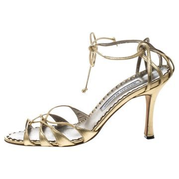 Manolo Blahnik Gold Leather Sandals