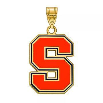 LogoArt Syracuse Orange Sterling Silver 14K Gold Plated Large Enamel Pendant, Women's, Size: 27 mm