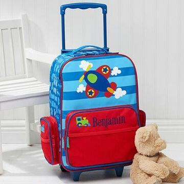 Stephen Joseph Airplane Embroidered Rolling Luggage