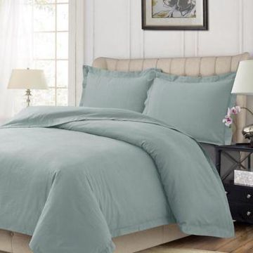 Tribeca Living Solid Flannel King Duvet Cover Set in Silver/Green