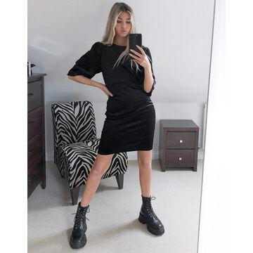 Noisy May mini velvet t-shirt dress in black