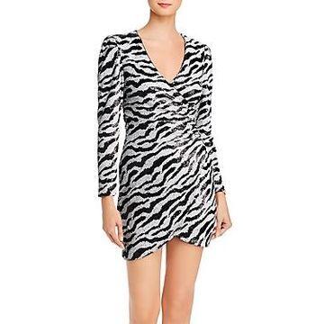 Bardot Sequined Zebra-Stripe Dress
