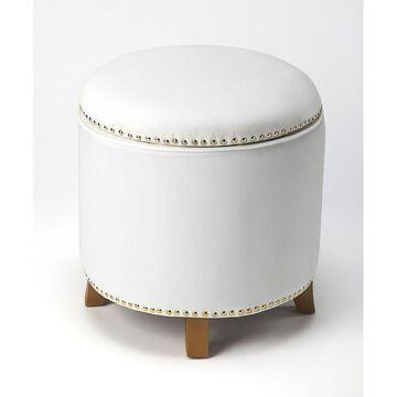 Butler Yara White Velvet Storage Ottoman