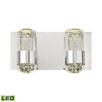 Alico Surrey Chrome and Bubbled Glass 2-light LED Vanity