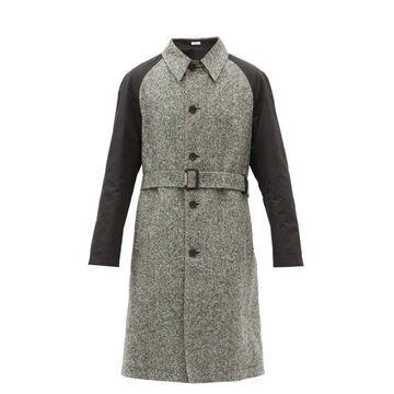 Alexander Mcqueen - Contrast-sleeves Wool-tweed Trench Coat - Mens - Black White