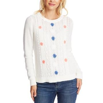 CeCe Embroidered Cable-Knit Cotton Sweater