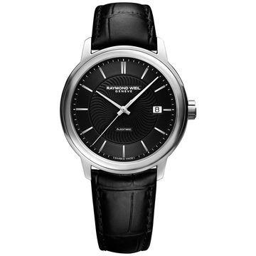Men's Swiss Automatic Maestro Black Leather Strap Watch 40mm 2237-STC-20001
