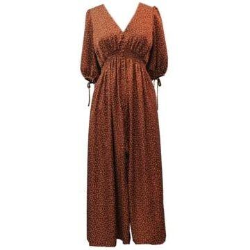 Taylor Dotted Satin Smocked-Waist Maxi Dress