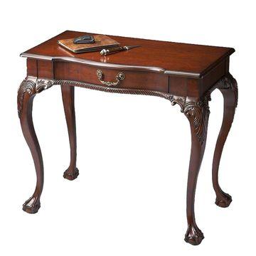 Offex Traditional Rectangular Writing Desk - Dark Brown