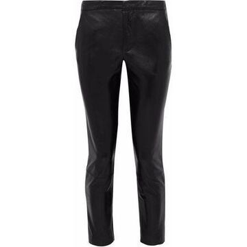 Redvalentino Cropped Leather Skinny Pants