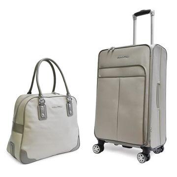 Adrienne Vittadini Pebble Grain Grey 2-piece Spinner Luggage Set - 2 piece set