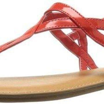 Fergalicious Womens Sunday Split Toe Casual T-Strap Sandals, Coral, Size 6.5
