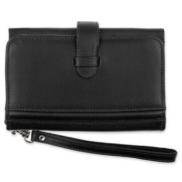 Piel Leather Classic Card Case and Phone Wristlet in Black
