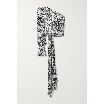 Self-Portrait - One-sleeve Tie-detailed Leopard-print Plisse-chiffon Top - White