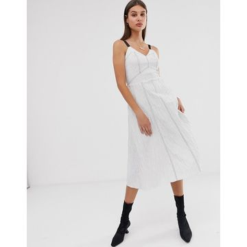 ASOS WHITE stripe cotton jacquard cami dress