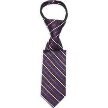 Joseph & Feiss Boys Burgundy Stripe Zipper Tie