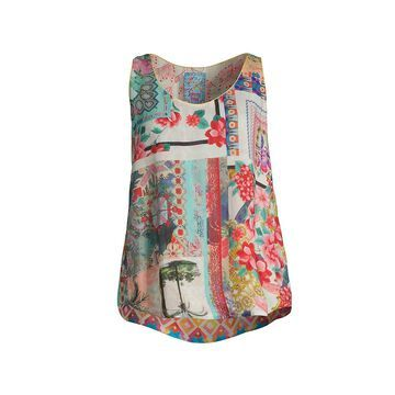 Johnny Was Orla Patchwork Floral-Print Tank Top