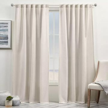Exclusive Home Curtains 2-pack Yara Light Filtering Hidden Tab Top Window Curtain Set, Beig/Green, 54X84