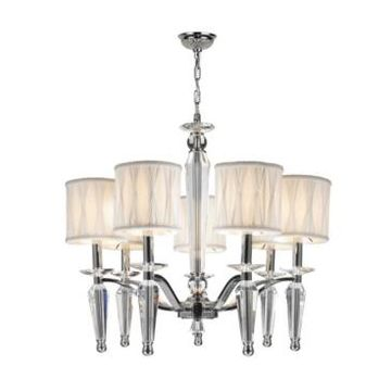 Worldwide Lighting Gatsby 7-Light Chrome Finish and Clear Crystal Chandelier with Fabric Shade