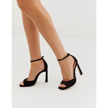 London Rebel barely there heeled sandals in black