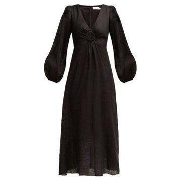 Zimmermann - Wayfarer Linen Dress - Womens - Black