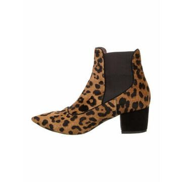 Ponyhair Animal Print Chelsea Boots Brown