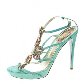 Rene Caovilla Mint Blue Suede Crystal Embellished Strappy Sandals Size 40