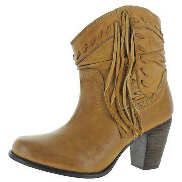 Naughty Monkey Womens Noe Leather Block Heel Ankle Boots
