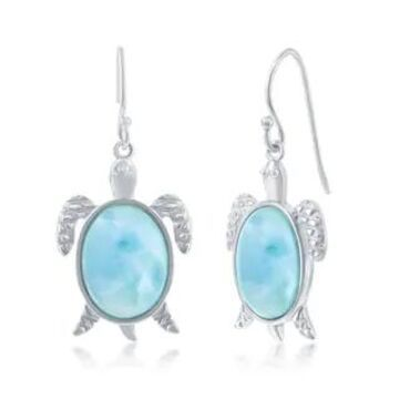 La Preciosa Caribbean Natural Larimar Gemstone Nautical Turtle Sterling Silver Dangling Earrings Jewelry for Women or Teens (Sterling Silver - White)