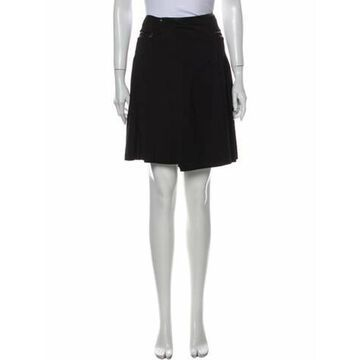 Pleated Accents Knee-Length Skirt Black