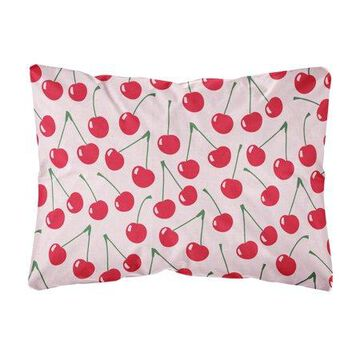 Cherries on Pink Canvas Fabric Decorative Pillow