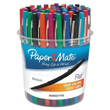 Paper Mate Point Guard Flair Bullet Point Stick Pen Assorted Ink 1.4mm 48 Pens