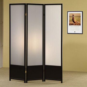 "Coaster Company 3 Panel Translucent Room Divider Screen, Black 70.25"" H"