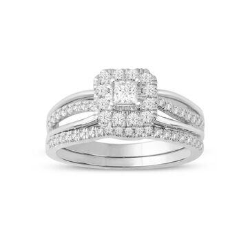 Imperial 14k White Gold 5/8ct TDW Princess-Cut Diamond Frame Bridal Set - White H-I