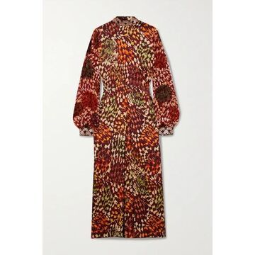 Dries Van Noten - Bead-embellished Printed Satin And Flocked Chiffon Midi Dress - Orange