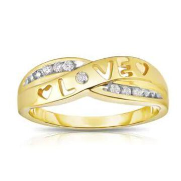 Noray Designs 14k Gold 1/10ct TDW White Diamond 'Love' Heart Ring (14K Yellow Gold, Size 6.5)