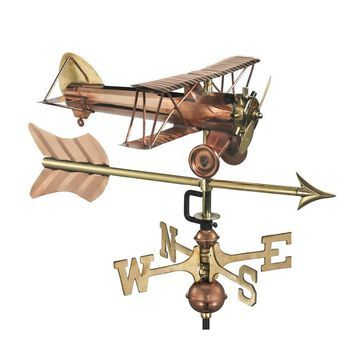 Good Directions Copper Roof-Mount Biplane Weathervane