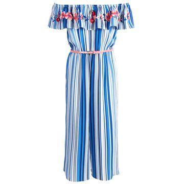 Big Girls 2-Pc. Embroidered Jumpsuit & Necklace Set