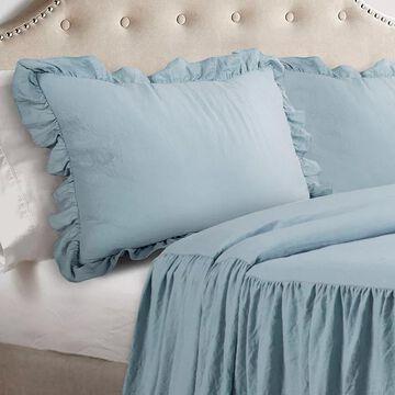Lush Decor Ruffle Skirt Bedspread Set, Blue, King