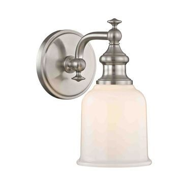allen + roth Palermo 5-in W 1-Light Satin Nickel Transitional Wall Sconce