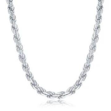 La Preciosa 925 Sterling Silver Italian Rhodium Plated Solid Diamond-Cut 5mm Rope 100 Gauge 18  , 22  , 24   Chain Necklace (22 Inch)