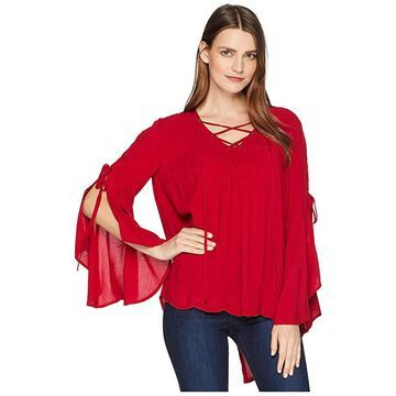Scully Antonia High-Low Split Back Ultra Soft Top (Red) Women's Clothing