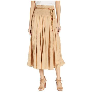 Scully Cantina Gar-Ye Skirt w/ Belt (Khaki) Women's Skirt
