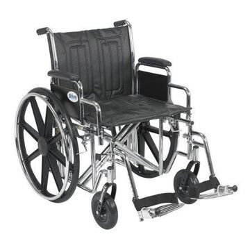 Drive Medical Sentra EC Heavy Duty Wheelchair, Detachable Desk Arms, Swing away Footrests, 20