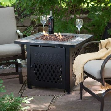 UniFlame ES631-1 Slate Mosaic Propane Black Outdoor Fire Pit Table w/Free Cover