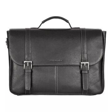 Heritage Colombian Leather Double Compartment Laptop Portfolio, Black