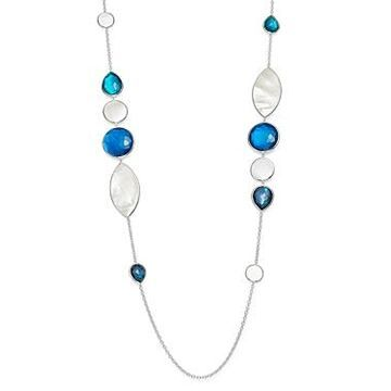 Ippolita Sterling Silver Wonderland Stone & Shell Station Necklace in Blue Moon, 38