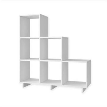 Manhattan Comfort Cascavel Stair Cubby Bookcase in White